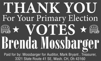 Thank you for your Primary Election votes