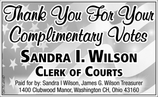 Thank you for your complimentary votes