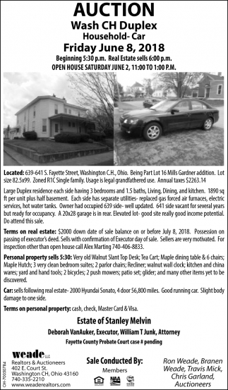 Auction Wash CH Duplex Household - Car