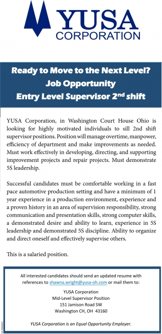 Entry Level Superisor 2nd shift
