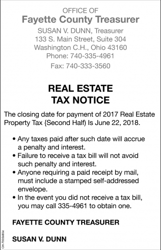 Real Estate Tax Notice