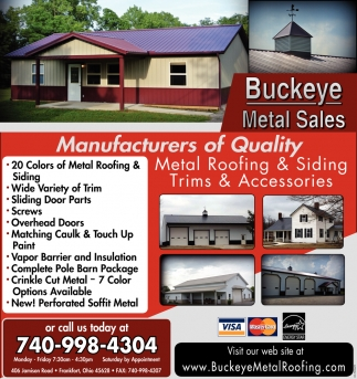 Metal Roofing Amp Siding Buckeye Metal Sales Frankfort Oh