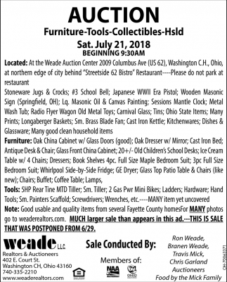 Furniture, tools, collectibles, hsld