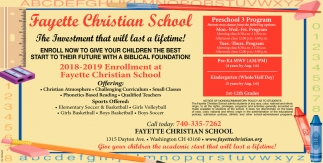 2018-2019 Enrollment at Fayette Christian School