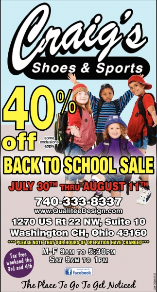 40% off back to school sale