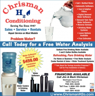 Call us today for a free water analysis