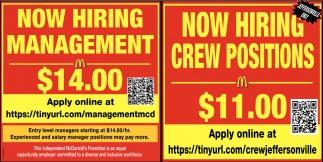 Management - Crew Positions