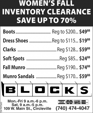 Women's Fall Inventory Clearance Save up to 70%