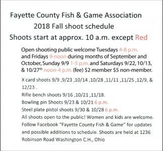 2018 Fall Shoot Schedule