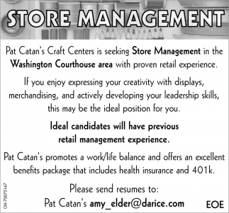 store management pat catans craft centers - Skills For Resume Manager Craft Store
