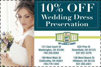10% off wedding dress preservation