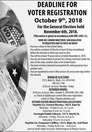 Deadline for voter registration