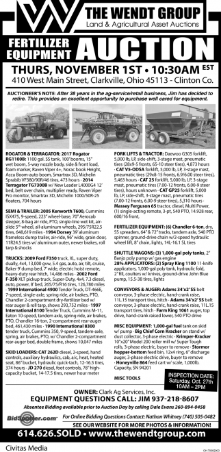 Fertilizer Equipment Auction