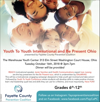 Youth to Youth International and Be Present Ohio