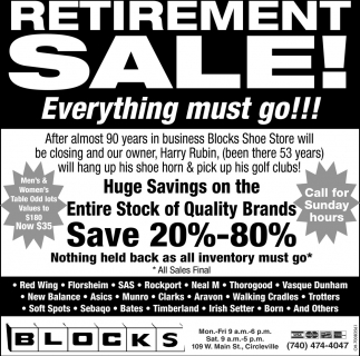 Retirement Sale!
