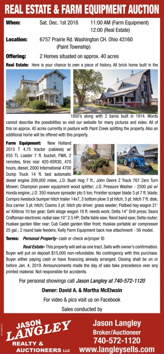 Real Estate & Farm Equipment Auction