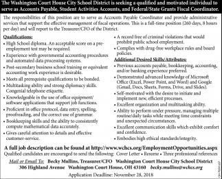 Accounts Payable, Student Activities Accounts, Federal/State Grants Fiscal Coordinator