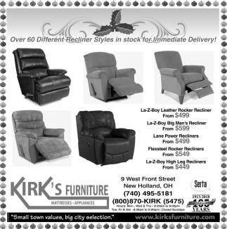 Over 60 Different Recliner Styles in stock