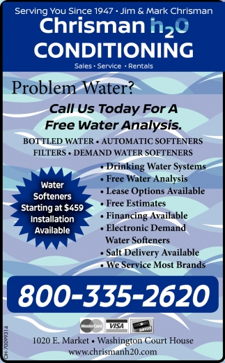 Bottled Water, Automatic Softeners, Filters