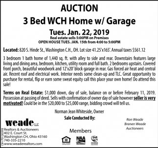 Auction 3 Bed WCH Home w/Garage