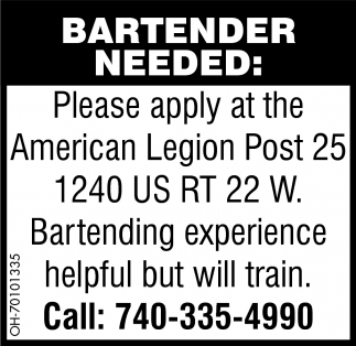 Bartender Needed