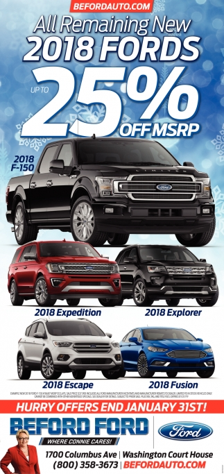 2018 Fords 25% of MSRP