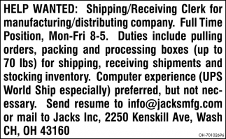 Shipping / Receiving Clerk