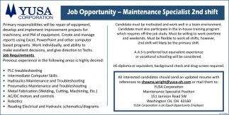 Maintenance Specialist 2nd Shift