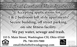 1 & 2 bedroom loft style apartments