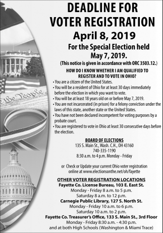 For the Special Election Held - May 7, 2019