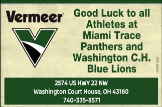 Good Luck to all Athletes at Miami Trace Panthers and Washington C.H. Blue Lions
