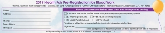 2019 Health Fair Pre-Registration for Blood Work