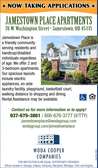 Now Taking Applications: Jamestown Place Apartments