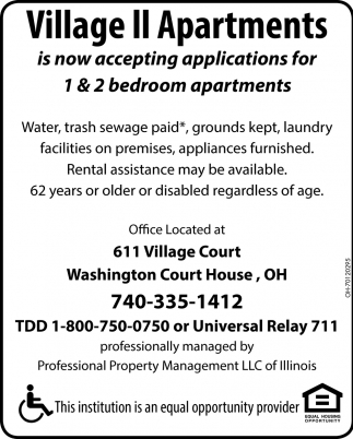 Now Accepting Applications , Village II Apartments