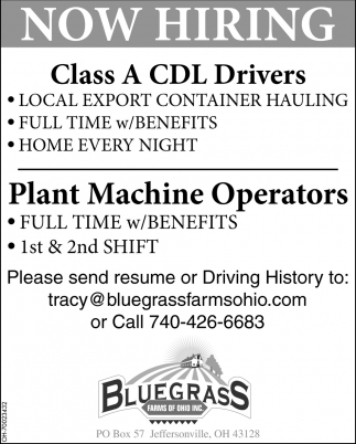 CDL Drivers / Plant Machine Operators