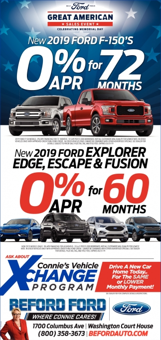 New 2019 Ford F-150S 0% APR for 72 months