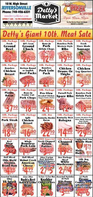 Detty's  Giant 10lb. Meat Sale