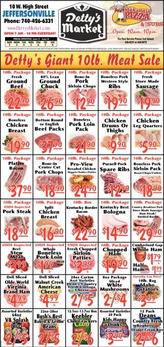 Detty's  Giant 10lb. Meat Sale
