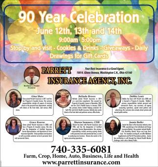 90 Year Celebration June 12th, Parrett Insurance Agency
