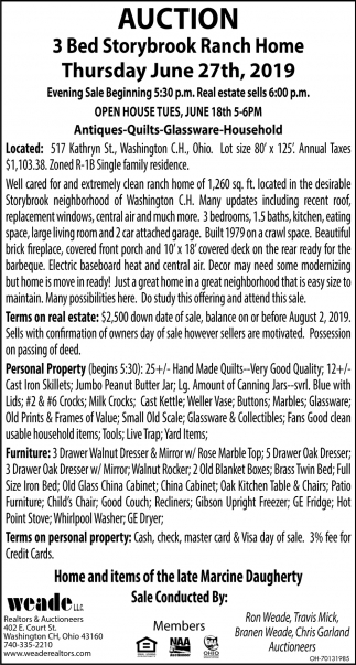 Ranch Home Auction June 27th