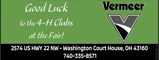 Good Luck to all 4 H Clubs at the Fair
