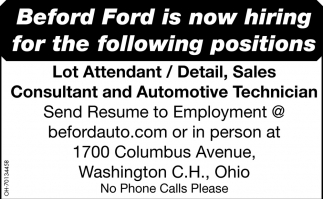 Lot Attendant / Detail Sales / Consultant / Automotive Technician