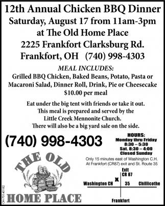 12th Annual Chicken BBQ Dinner