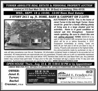 Turner Absolute Real Estate & Personal Property Auction