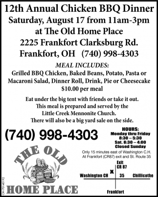 12th Annual Chicken BBQ Dinner