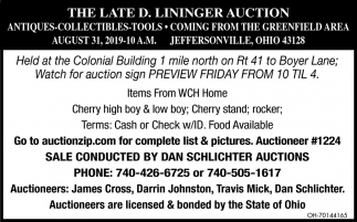 The Late D. Lininger auction