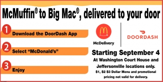 McMuffin to Big Mac, delivered to your door