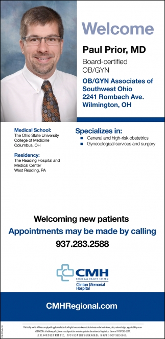 Welcome Paul Prior, MD - Ob/Gyn