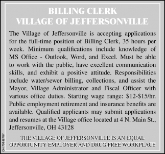 Accepting applications for the full time of Billing Clerk