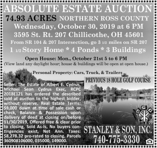Absolute Estate Auction - October 30